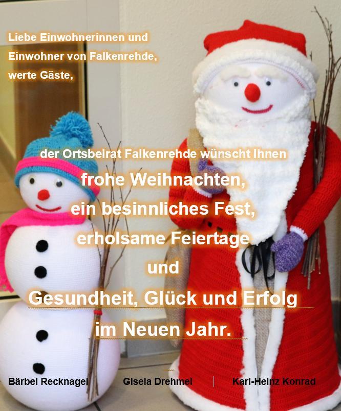 Weihnachtsgrüße aus dem Dorfgemeiinschaftshaus Schneemann und Weihnachtsmann